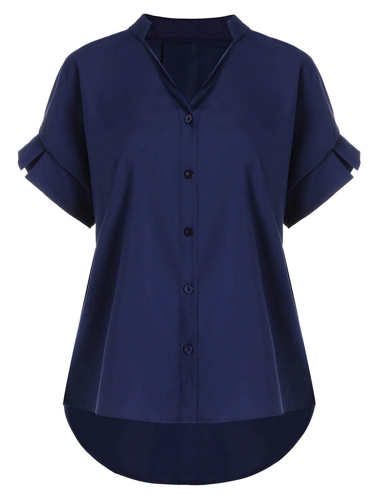 V Neck Button Up Plus Size BlouseWOMEN<br><br>Size: 2XL; Color: PURPLISH BLUE; Material: Polyester; Shirt Length: Long; Sleeve Length: Short; Collar: V-Neck; Style: Casual; Season: Summer; Pattern Type: Solid; Weight: 0.2200kg; Package Contents: 1 x Blouse;