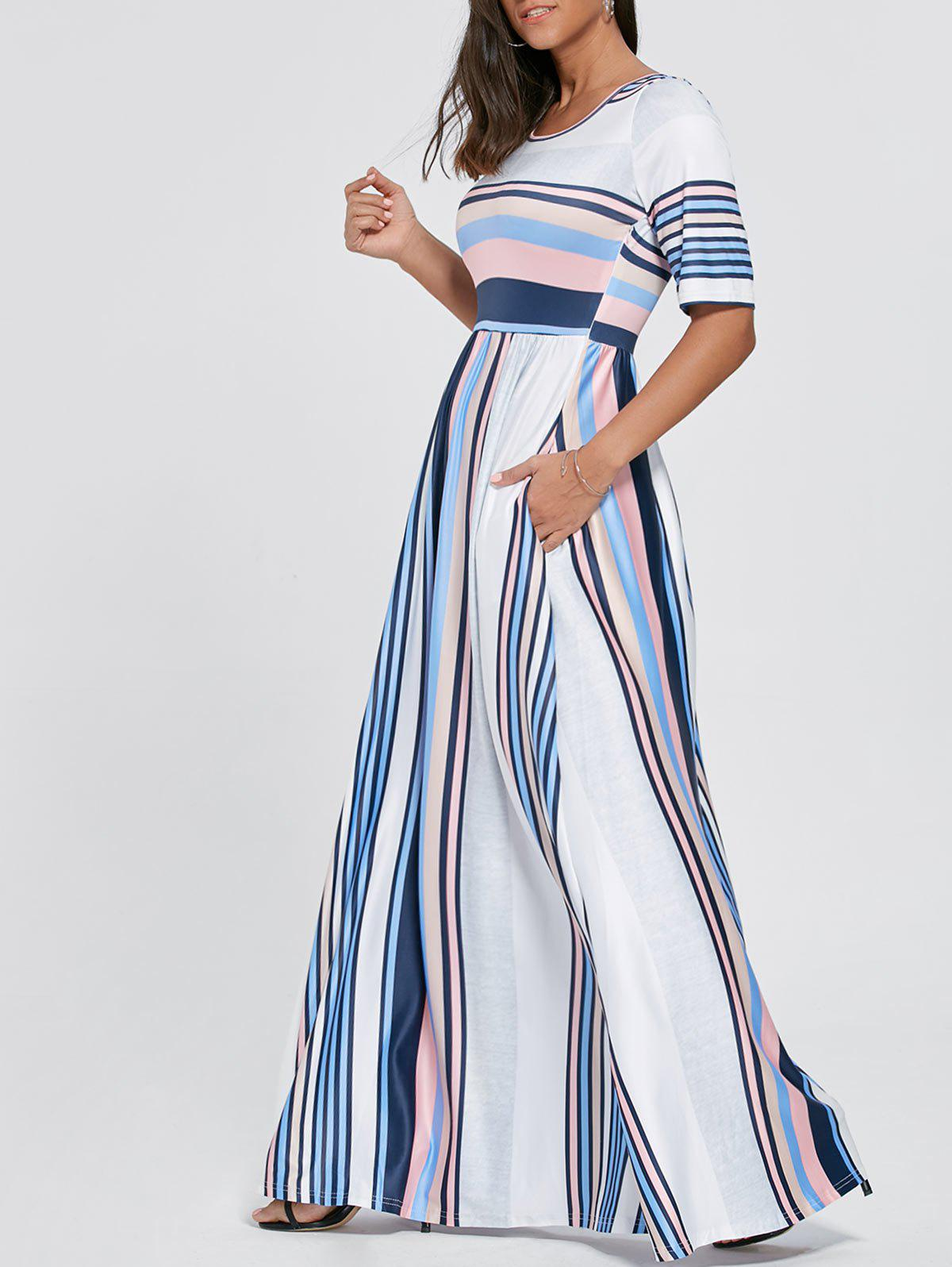 Color Block Striped Tee Shirt Maxi DressWOMEN<br><br>Size: XL; Color: BLUE; Style: Casual; Material: Polyester,Spandex; Silhouette: A-Line; Dresses Length: Floor-Length; Neckline: Scoop Neck; Sleeve Length: Half Sleeves; Pattern Type: Striped; With Belt: No; Season: Fall,Spring; Weight: 0.5000kg; Package Contents: 1 x Dress;