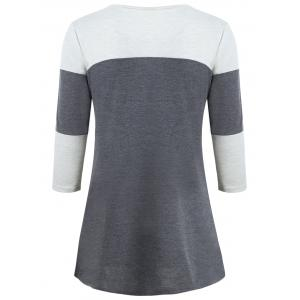 Color Block Pocket Tunic T-shirt - GRAY S