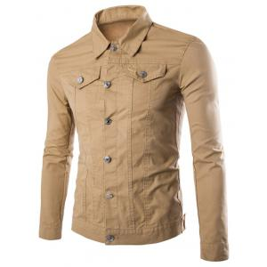 Front Pockets Single Breasted Cargo Jacket