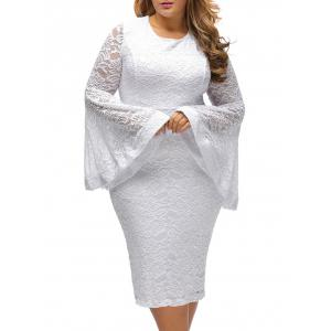 Flared Sleeve Plus Size Lace Pencil Bodycon Dress -