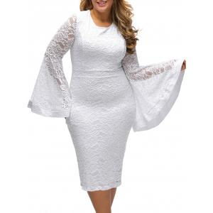 Flared Sleeve Plus Size Lace Pencil Bodycon Dress - White - 2xl