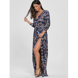 Plunging Neck Chain Print Striped Surplice Maxi Dress - BLUE S