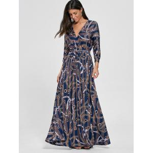 Plunging Neck Chain Print Rayé Surplice Maxi Dress - Bleu S