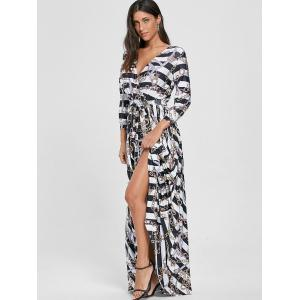 Plunging Neck Chain Print Striped Surplice Maxi Dress - WHITE XL