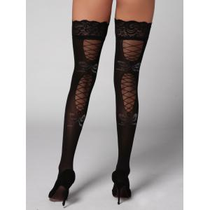 Lace Insert Overknee Stockings - Black - One Size