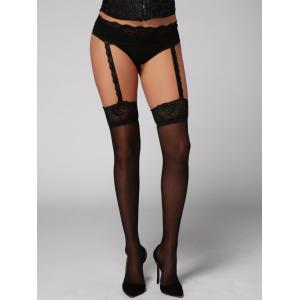 Lace Panel See Thru Garter Tights - Black - One Size