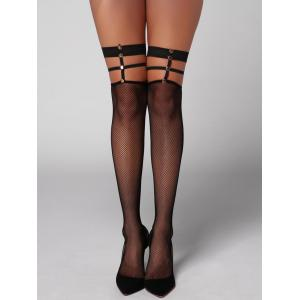 Fishnet Cut Out Overknee Stockings - Black - One Size