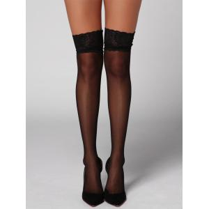 Sheer Lace Insert Overknee Stockings - Black - One Size