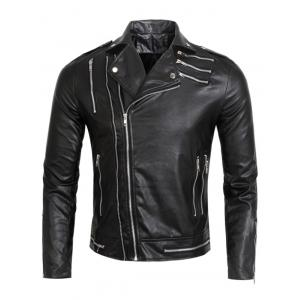 Epaulet Multi Zippers Faux Leather Jacket