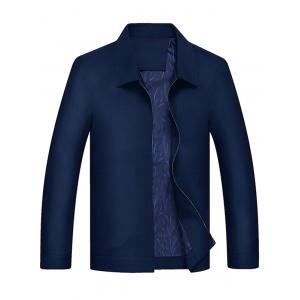 Turndown Collar Slim Fit Zip Up Jacket