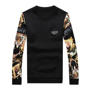 Metallic Applique 3D Printed Long Sleeve Sweatshirt - Black - Xl