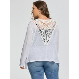 Plus Size Back Lace Crochet  Collarless Ribbed Cardigan - WHITE 4XL