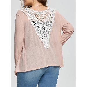 Plus Size Back Lace Crochet  Collarless Ribbed Cardigan - Apricot - 4xl
