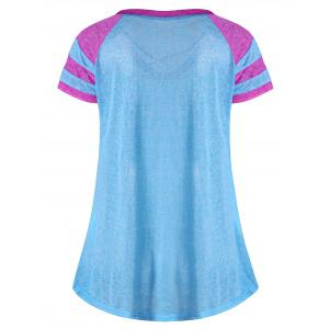 Lattice Neck Two Tone Top - LAKE BLUE 2XL