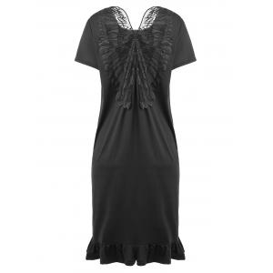 Slit Ruffle Butterfly Embroidered Plus Size Dress - Black - 4xl