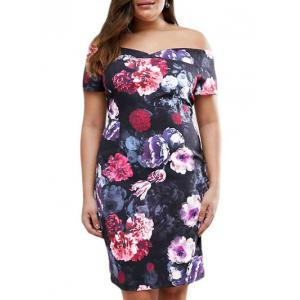 Floral Print Off Shoulder Plus Size Dress - Multicolor - Xl
