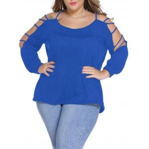 Ripped Sleeve Scoop Neck Plus Size Top