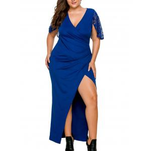 Plus Size Surplice Slit Lace Panel Dress - Blue - 3xl