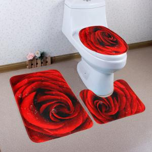 Soft Coral Fleece Antislip Rose 3Pcs Toilet Mat Set
