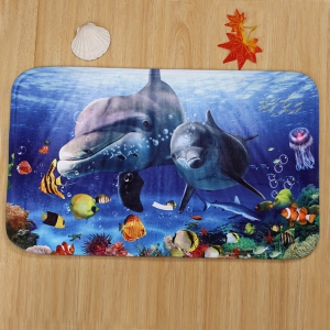 3Pcs Ocean World Dolphin Bathroom Mats Set -