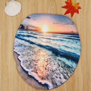 3PCS Soft Absorbent Sunset Beach Bathroom Rugs Set - COLORMIX