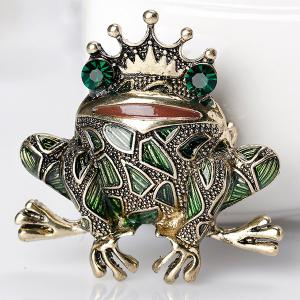 Faux Gem Inlaid Engraved Frog King Brooch -