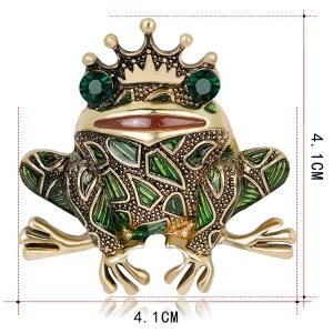 Faux Gem Inlaid Engraved Frog King Brooch - GREEN