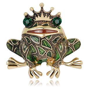 Faux Gem Inlaid Engraved Frog King Brooch