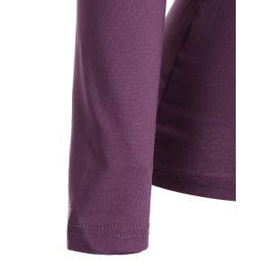 Ruched Empire Waist Long Sleeve T-shirt - PURPLE S