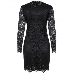 Long Sleeve Crew Neck Lace Bodycon Dress -