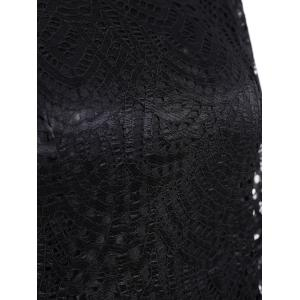 Long Sleeve Crew Neck Lace Bodycon Dress - BLACK M