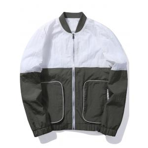 Zip Up Two Tone Bomber Jacket