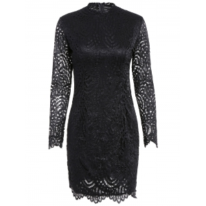 Long Sleeve Crew Neck Lace Bodycon Dress - Black - Xl