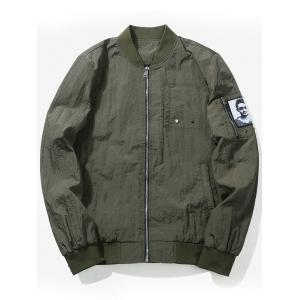 Zip Up Bomber Jacket with Patch Pocket - Army Green - L