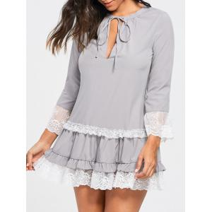 Lace Trim Three Quarter Sleeve Tunic Dress