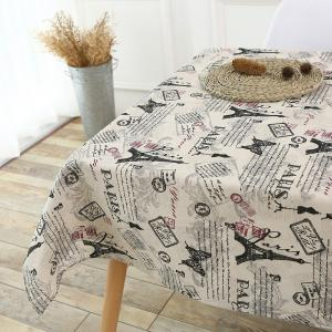 Kitchen Decor Tower Words Pattern Table Cloth - GRAY W55 INCH * L71 INCH