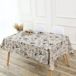 Kitchen Decor Tower Words Pattern Table Cloth