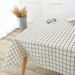 Plaids Patterned Kitchen Decor Tablecloth - WHITE W55 INCH * L40 INCH