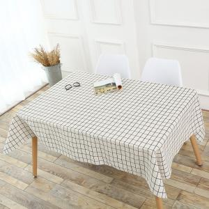 Plaids Patterned Kitchen Decor Tablecloth - White - W55 Inch * L40 Inch