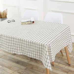 Plaids Patterned Kitchen Decor Tablecloth - WHITE W55 INCH * L71 INCH
