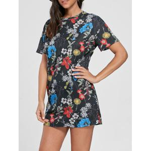 Flower Printed Shift Mini Dress