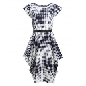 Asymmetric Short Sleeve Ombre Polka Dot Dress