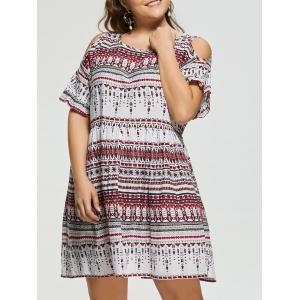 Open Shoulder Plus Size Bohemian Dress - Red - 5xl