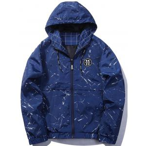 Zip Up Splatter Print Patch Hooded Jacket