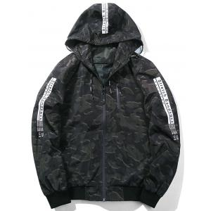 Zip Up Camouflage Graphic Hooded Jacket