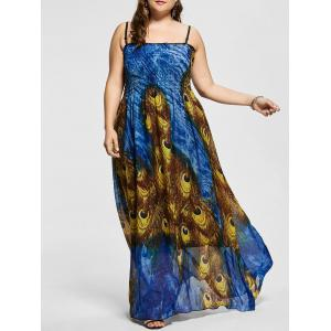 Feather Print A Line Plus Size Prom Dress
