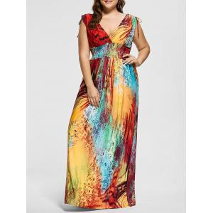 Floor Length Plunging Neck Printed Plus Size Dress