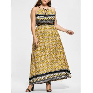 Boho Print Sleeveless Plus Size Maxi Dress - Yellow - 3xl