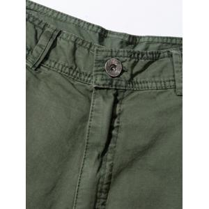 Pockets Embellished Zipper Fly Cargo Pants - ARMY GREEN 32